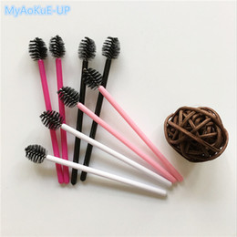 Wholesale Synthetic Hair Extensions White - Beauty Makeup Tools Wholesale 1000 Pieces 4 Colors Mix Nylon Eyelash Brushes Black Pink White Rose Red Apple Shape Eyelash Extension