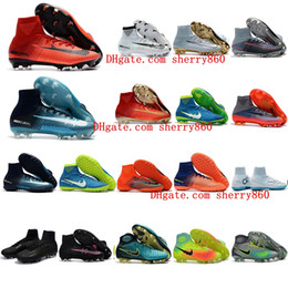 Wholesale Cheap Football Soccer Shoes - 2018 boys soccer cleats Mercurial Superfly cr7 Ronalro FG Classic TF indoor soccer shoes mens womens kids football boots magista obra cheap