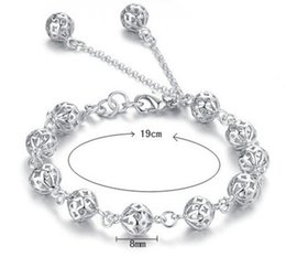 Wholesale Cheap Sterling Silver Charm Bracelets - 100% 925 Sterling Silver Bangle Bracelet Hollow Out Balls Best Christmas Gifts Wedding Party Accessories Fashion Bridal Jewelry Cheap