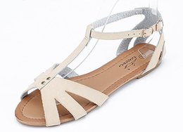 Wholesale Leather Yard Wholesale - Brand new women teenager leather fish head sandals Gladiator flat heel hollow out shoes US size 5.5-8.5 BIG YARDS 4 colors drop shipping