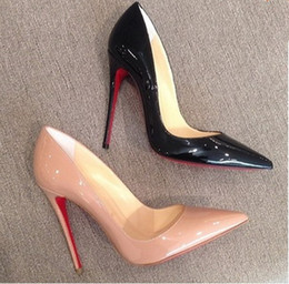 Wholesale kate wedding dresses - So kate Women Black Sheepskin Nude Patent Leather Poined Toe Women Pumps,120mm Fashion Red Bottom High Heels Shoes for Women Wedding shoes