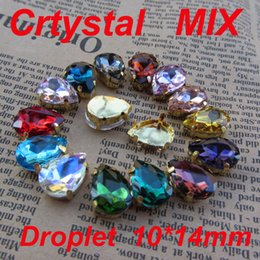 Wholesale Metal Claw Shoes - Wholesale-Wholesale 50pcs lot 10*14mm Mix Color Crystal Rhinestones Teardrop Droplets Glass With Metal Claw Settings Sewing On Dress Shoes