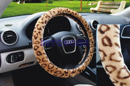 "Wholesale Leopard Steering Wheel - 1 X Soft Warm Leopard Plush Auto Car Steering Wheels Cover Anti-slip 38CM 15"" Brown order<$18no track"