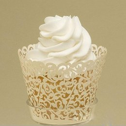 Wholesale Cupcake Wrapper Yellow - Wholesale-12pcs Light Yellow color, Candy box, Laser cutting Cupcake wrappers Cake cup wedding favors wedding gift