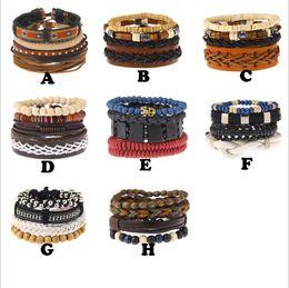 Wholesale Turquoise Skulls Bracelet - 2018 Multilayer DIY Beads Bracelets Handmade Skull Turquoise Pendant Bangles 8 Styles Leather Weaving Charm Bracelet With Card & OPP Bag