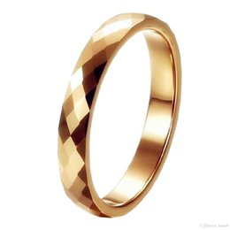 Wholesale 4mm Faceted - Gold Mercury Multi Faceted Tungsten Carbide Wedding Rings Band High Polish 3 4mm Statement Infinity Bridal Jewelry Unique Christmas Present