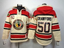 Wholesale Hoody Tops - Factory Outlet, top quality cheap Chicago Blackhawks ice hockey Hoody #50 Corey Crawford Men's Jersey Hockey Hoodies Sweatshirts with size:m