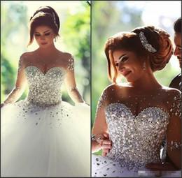 пакистанские платья длиной до пола Скидка 2020 с длинными рукавами свадебные платья стразы свадебное платье кристаллы иллюзия невесты платья спинки бальное платье вечернее платье