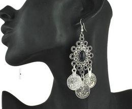 gioielli orecchini zingari Sconti Retro orecchini turchi della moneta d'argento Disegno floreale Boho Gypsy Beachy etnico tribale Festival gioielli turco orecchini bohemien