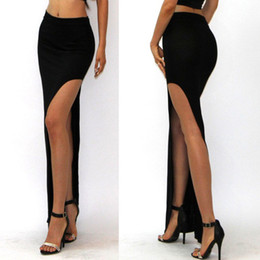 Wholesale Long Denim Skirts Wholesale - Wholesale- E179 New Fashion Charming Sexy Women Lady Long Skirts Open Side Split Skirt Long Maxi Skirt Black E179
