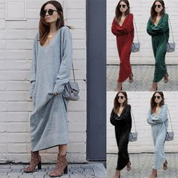 Wholesale Slim Fit Maxi Dresses - Ladies Fashion Fall V-Neck Casual Long Sleeved Slim Fit Long Dress Womens Solid Color Winter Autumn Dresses