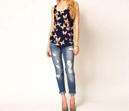 Wholesale Ladies Chiffon Top Butterfly - Fashion Butterfly Tank Casual Chiffon Blouse Women Girls Lady Casual Sweet Shirt Tank Top Blusas 2015 Wholesale Free Shipping