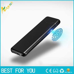 Wholesale lighter electronic - Thin 5.5mm Double Sided Fingerprint ignition Cigarette Lighter USB Windproof Electronic Touch Sensing Cigarette Lighter