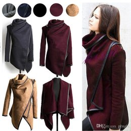 Wholesale Vintage Patchwork Coat - Women's Clothing Outerwear & Coats Wool & Blends Winter New Fashion Cashmere Blend Long Sleeve Slim Parka Coat retail Free shipping