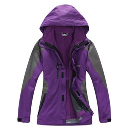 Wholesale Wholesale Ski Coats - 2016 Women Winter 3in1 Jacket Waterproof breathable soft shell Outdoor Ski Snowboard Running Fleece Lined Hooded Sports Coat high quality