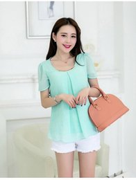 Wholesale New Style For Blouses Chiffon - Wholesale-2015 New Summer Style Women's Chiffon Blouse with Metal Plus size Tops for girls Women Short Sleeve Tops Clothing CB512