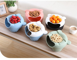 Wholesale Dish Drying - Fruit Bowl Plastic Double Layered Dry Fruit Candy Snack Storage Box Plate Dish Tray With Mobile Phone Stents
