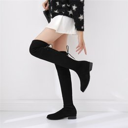 Wholesale Flat Black Thigh High Boots - 2017 New Winter Sw5050 Strap Flat Knee Boots Shoes Thigh Long Boots Female Leather Boots Son Sneakers for Womens