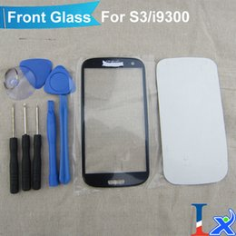 Wholesale Galaxy S3 Repair Kit - Wholesale-Repair S3 kit for Samsung Galaxy S3 SIII i9300 Generic Replacement Front Glass blue with tools and adhesive