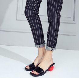 Wholesale White Fashion Heels Korean - high quality! b097 34 genuine leather ball heel slide sandals shoes BLACK WHITE korean fashion luxury slipper flip flops casual summer