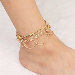Wholesale Tassel Anklets - Gold Tone 2 Layers Tassel Bell Charm Anklet Sandal Beach Heels Ankle Bracelet Summer Heels Anklet Jewelry
