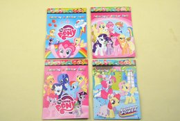Wholesale Cartoon Children Books - Hot sale little pony Cartoon Kids Coloring Book with Stickers Drawing book Children Gift 48piece lot Four versions fast shippin