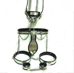 Cinghia del catetere del tubo online-Abito caldo BDSM Cintura di castità maschile tipo T + colletto + manette + polsini cosciali + polsini alla caviglia + butt plug + catetere tube + reggiseno