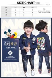 Wholesale Girls Long Down Winter Jacket - 2015 Hot Sell Baby girls boys Spring Autumn Denim cartoon Mickey long sleeved jackets Children's fashion Denim coat 5pcs 1 lot C001