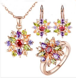 Wholesale Rose Necklace Golden - new 18K Rose Gold Plated Engamement Jewlery Sets for Women with High Quality Multicolor AAA Zircon