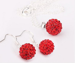 Wholesale Golden Crystal Shamballa Bracelet - Factory price 10mm Shamballa drop earrings Red crystal necklace jewelry sets Mixed order