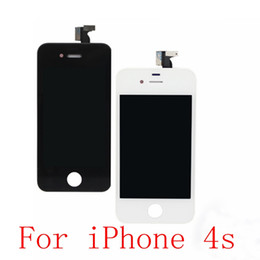 Wholesale Iphone 4s 4gs Digitizer - Wholesale-For iPhone 4S 4GS LCD DisplayTouch Screen digitizer + Bezel Frame Assembly Replacement Black   White Free shipping
