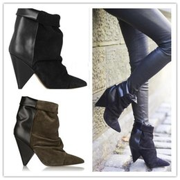 Wholesale Black Wedges Booties - Andrew Boots Ankle Suede Leather Women Boots Impera Marant Autumn Boots Wedged Shoes Woman Booties For Women Shoes