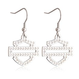 Wholesale Cleaning Crystal Jewelry - 3pairs lot biker style hot selling clean crystal earrings 316l stainless steel fashion jewelry crazy motor biker earrings