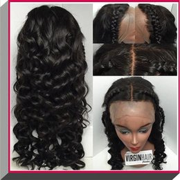 Wholesale French Curls Wig - Peruvian Human Hair Natural Color Body Curl Glueless Silk Base Glue silk top full lace wig