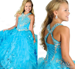 Wholesale Crystal Sequin Communion Dresses - Glitz Girl's Pageant Dresses Halter Crystals 2017 Sequins Pleated Organza Girls Ball Gown Princess Wedding Party Gowns RG6684 Ritzee girls
