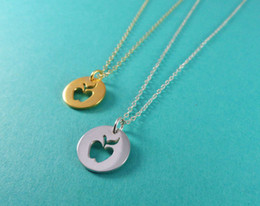 Wholesale Funny Necklaces - 30PCS- N123 Gold Silver Cute Apple Necklace Simple Funny Outline Fruit Necklace Teacher Necklaces Circle Disc Necklaces for Coin Jewelry