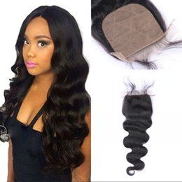 Wholesale Cambodian Baby Hair - Silk Base Closure Body Wave Free Part Cambodian Remy Human Hair 4x4 Bleached Knots With Baby Hair FDSHINE