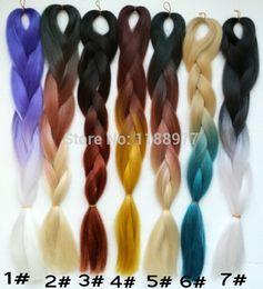 "Wholesale Top Kanekalon Hair - Popular top quality length 20"" 100g Ombre Two Tone Colored Kanekalon Jumbo Braiding Hair 16 colors free shipping"