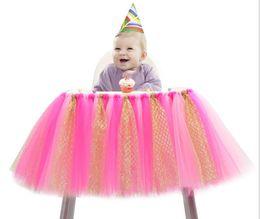 2019 paño trona Tutu Silla Falda Bebé Tulle Paño de tabla Chica Princesa Fiesta Fiesta de Cumpleaños Fiesta de bienvenida al Bebé con Volantes Tutu Mesa Falda Silla Alta paño trona baratos