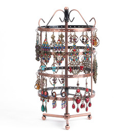 Wholesale Hole Hangers - 2016 Promotion Retail One Bronze Round Perforated Metal Plate Rotating Earring Stand Holder for Jewelry Display Hanger 144 Holes 31cm Height
