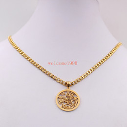 Wholesale Mens Religious Necklace Pendant - Mens Gold color Stainless Steel Large 32mm Geometric Religious geometric JEWISH pentagram Wicca Pendant necklace curb chain 5mm 18''-32''