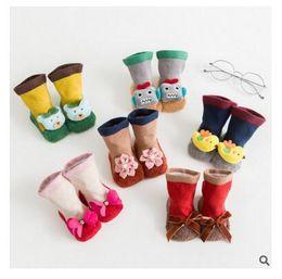 Wholesale Newborn Anti Slip Socks Animal - Infant Socks Newborn Flower Cartoon Animal Baby Socks 6 styles Anti-slip Toddler Christmas Gifts For Boys Girls Sock DHL Free Shipping