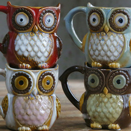 Wholesale Ceramic Owls Wholesale - 2018 Bohemian colorful Ceramic Mug owl handcrafted gift Romantic Pattern Coffee beer Cup Drinkware Resistant High Temperature Breakfast Cup