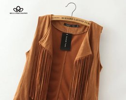 brown suede vest women Promo Codes - Wholesale-2015 autumn winter faux suede ethnic sleeveless tassels fringed vest cardigan black khaki