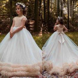 Wholesale Little Girls Short Skirt Dress - Vintage Ball Gown Flower Girls Dresses For Weddings Cheap Beads Ruffle Little Kids First Communion Dress Puffy Skirts Pageant Gowns