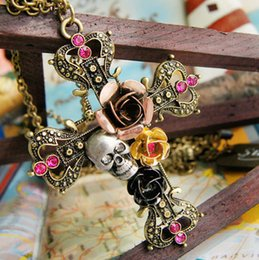 Wholesale Skull Head Sweater - Punk Goth Rose Skull Necklace Link Chain Long Sweater Skeleton Cross Head Pendant Necklace Vintage Jewelry for Women