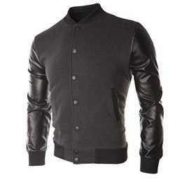 Wholesale Crew Neck Leather Jacket - New 2015 Men Brand Baseball Jacket Sweater PU Leather Collar Coat Casual Mens Outdoor Jackets Patchwork Clothing M-XXXL 627