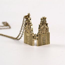 Wholesale American Castles - New Hot Selling castle pendant necklace Silver chain for men or women movie lovers new year gift pendant necklace 12Pcs