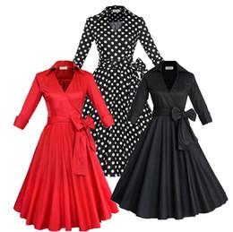 Wholesale Plus Size European Winter Dresses - Audrey Hepburn Vintage Style Casual Dresses European Fall Winter Long Sleeves Big Ruffles Women Plus Size Clothing OXL082209