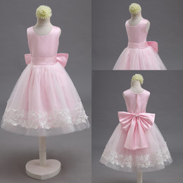 Wholesale White Satin Bow Belt - 2015 Free Shipping Real Photo Pink Bow Net and Satin Belt Lace Custom Made Lovely Little Flower Girl Dresses